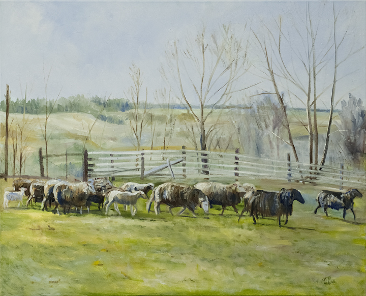 "Spring Lambs oil 24"" x 30"" $1080.00"